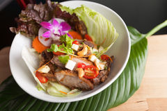 Thaise Salade met Knapperige Eend Stock Foto's