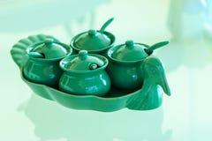 Thaise Specerij voor noedel in ceramische reeks op glas t royalty-vrije stock foto