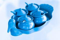 Thaise Specerij voor noedel of stootkussen Thai in ceramische reeks stock foto