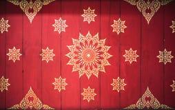 Thaise stijlkunst van patroon op muur in tempel, Thailand tex Royalty-vrije Stock Afbeeldingen