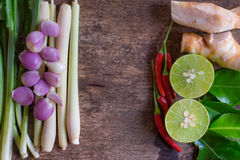 Thaise Tom Yam-soepkruiden en kruiden op uitstekende houten achtergrond Kruidingrediënten Centrumruimte Royalty-vrije Stock Foto