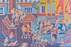 Thaise traditionele muurschildering Royalty-vrije Stock Afbeeldingen