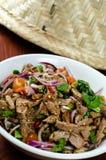 Thaise varkensvleessalade Nam Tok Royalty-vrije Stock Afbeeldingen