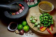 Thaise voedsel Kokende ingrediënten Stock Afbeeldingen