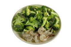 Thaise voedsel verse broccoli met garnalen royalty-vrije stock afbeeldingen