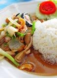 Thaise voedselkip en rijst Stock Afbeeldingen