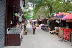 Thaise vrouw die en bij openluchtmarkt lopen winkelen Royalty-vrije Stock Afbeeldingen