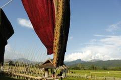 Thaise zijde met de blauwe hemelachtergrond stock fotografie
