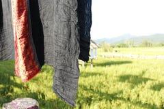 Thaise zijde op de rijstachtergrond stock afbeeldingen