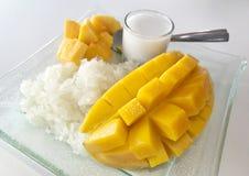 Thaise Zoete Kleverige Rijst met Mango Royalty-vrije Stock Foto