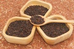 Thaise zwarte jasmijnrijst (Rijstbes) in houten kom Stock Foto