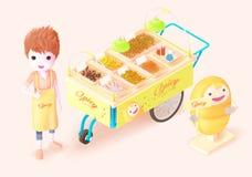 Thaistreet jedzenia isometric_fried_bug Zdjęcie Stock