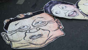 Thaksin and Yingluck mimic banners Royalty Free Stock Images