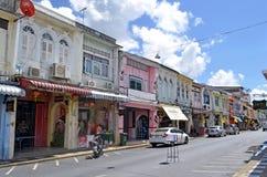 Thalang Road in Phuket Old Town. Thalang Road, or thanon Thalang in Thai, in Phuket Old Town, Thailand Stock Images