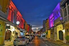 Thalang Road at twilight in Phuket Old Town Royalty Free Stock Photo