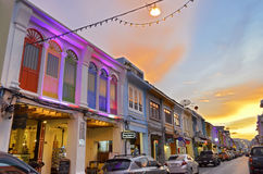 Thalang Road at twilight in Phuket Old Town Stock Image
