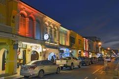 Thalang Road at twilight in Phuket Old Town Royalty Free Stock Photos