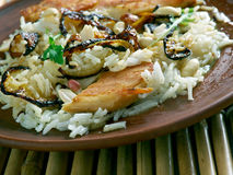 Thalassery Chicken  biryani. Rice-based dish blended with spices and chicken. Kerala cuisine Stock Photo
