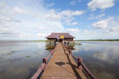 Thale Noi. In Phatthalung Province, is one of the biggest lakes in Thailand. The name  means small sea royalty free stock photos
