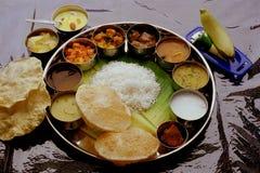 Thali completo indiano dei pasti Fotografie Stock Libere da Diritti
