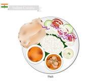 Thali eller indier ångad ris-, tunnbröd- och currysoppa stock illustrationer