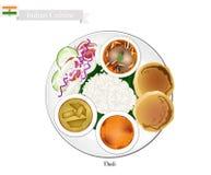 Thali eller indier ångad ris-, tunnbröd- och linsragu stock illustrationer