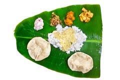 Thali indiano do veg no branco Imagens de Stock Royalty Free