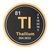 Thallium Tl chemical element. 3D rendering. Isolated on white background stock illustration