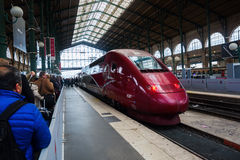 Thalys train at the station Gare du Nord in Paris Royalty Free Stock Photography