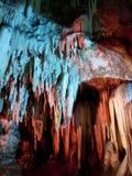Tham Khao Bin cave. Stalactite wall illuminated with color light in Tham Khao Bin cave, Ratchaburi, Thailand Stock Photography