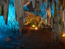 Tham Khao Bin cave. Stalactite wall illuminated with color light in Tham Khao Bin cave, Ratchaburi, Thailand Stock Photos