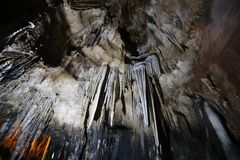THAM KHAO BIN CAVE, Stalactites and Stalacmites. In the tradditional cave of Ratchaburi, Thailand royalty free stock photos