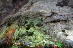 THAM KHAO BIN CAVE, Stalactites and Stalacmites. In the tradditional cave of Ratchaburi, Thailand stock photography