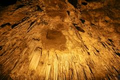 THAM KHAO BIN CAVE, Stalactites and Stalacmites. In the tradditional cave of Ratchaburi, Thailand stock photos