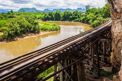 Tham krasae bridge. Royalty Free Stock Image