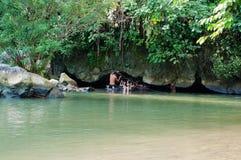 Tham Nam (Water Cave). Vang Vieng. Laos. Tham Nam (Water Cave) for cave tubing. Vang Vieng. Laos Stock Photo