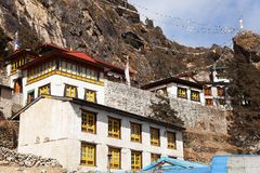 Thame gompa with prayer flags - monastery in Khumbu Royalty Free Stock Image