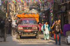 THAMEL, KATHMANDU, NEPAL - NOVEMBER 20, 2014: Car driving by the Stock Images