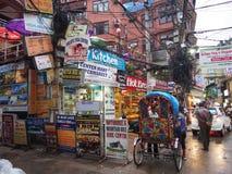 Thamel  street. Tourist street in the Middle of thamel, khatmandu Royalty Free Stock Image