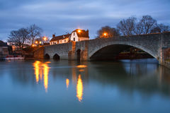 Thames in Abingdon near Oxford, UK. Evening scene on the river Thames near Oxford, UK stock photos