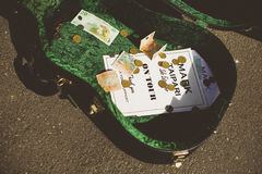THAMES - AUGUST 17: Guitar box belonging to local musician Mark Stock Photography