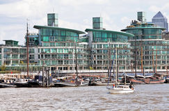 Thames barges and executive housing Royalty Free Stock Photography