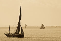 Thames Barges in Sepia Stock Photos