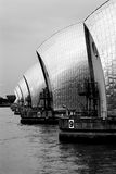 Thames Barrier. Black and white photo of the Thames Barrier in Greenwich, London, UK Stock Photos