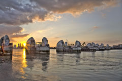 Thames Barrier And Canary Wharf,. London UK Royalty Free Stock Photos