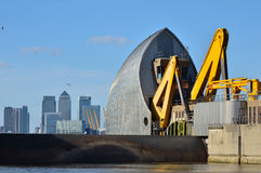 Thames barrier closed. London, England - February 16, 2014:  the environment agency close the Thames barriers at high tide to stop London flooding after weeks of Royalty Free Stock Image