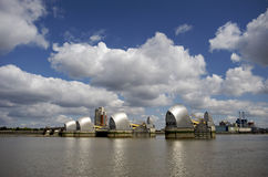 The Thames Barrier in London. The Thames Barrier on a bright and Sunny Summers day stock photography