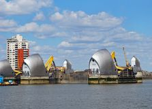 The Thames Barrier, London. Thames barrier across the River Thames, (River Thames flood barrier), London, England, UK, Western Europe Royalty Free Stock Photography