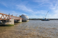 Thames Barrier in London. The Thames Barrier - close up of movable flood barrier in eastern London, United Kingdom Stock Photos