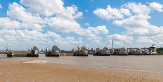 Thames Barrier in London. The Thames Barrier - movable flood barrier in eastern London, United Kingdom Stock Image